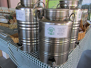 organically farmed olive oil in stainless steel storage tanks